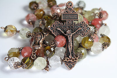 10mm Watermelon Quartz Glass and Copper Bead Rosary Made in Oklahoma Catholic on Rummage