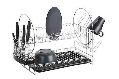 VonShef Dish Drainer 2 Tier Stainless Steel Kitchen Washing Up Rack & Drip Tray
