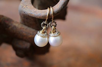 David Yurman 18K Yellow Gold & Sterling, Diamond & Pearl Drop/Dangle Earrings
