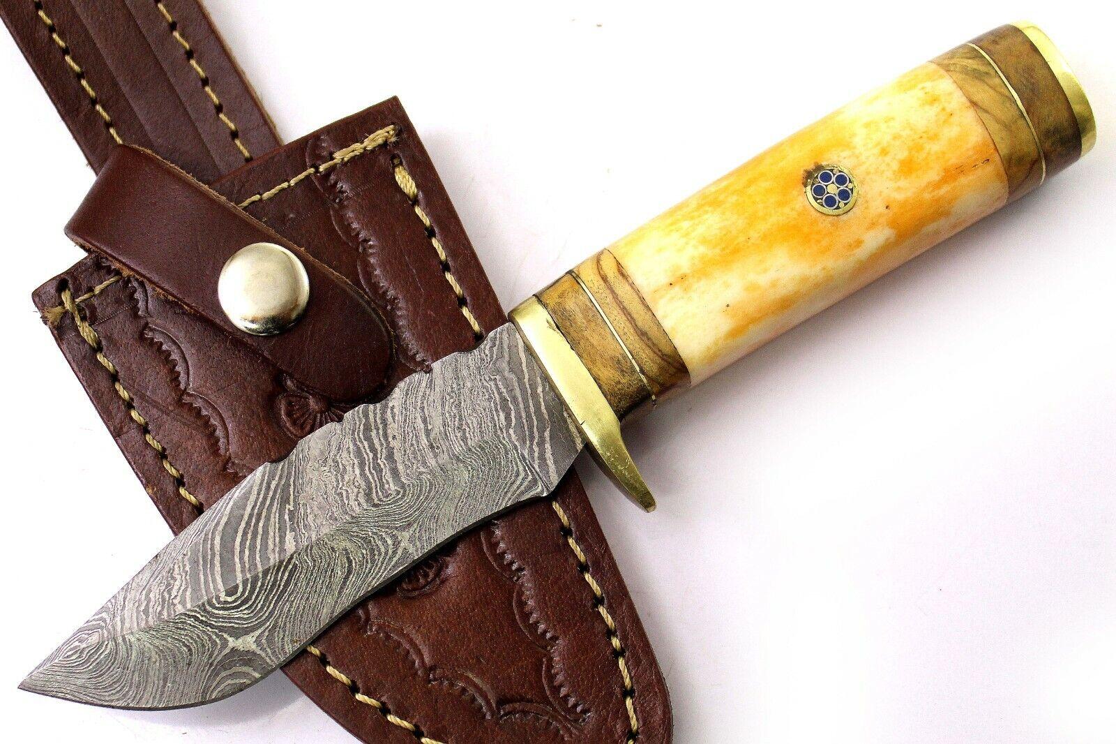 8 Handmade Damascus Knife-Tinted Farming Bone And Wood Handle-US-463 - $14.47