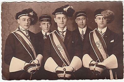 Studentika Foto AK HAINICHEN um 1925/26 Studenten mit Blindstempel  ( 1500