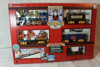 Christmas North Pole Express Christmas Animated Musical Train Set Open Box 1996