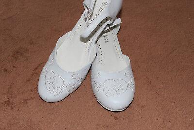 Mädchenschuhe Kinder Festliche Kommunionschuhe mit Absatz Weiss Gr. 30-40 (#003) (Kommunion Schuhe Mädchen)