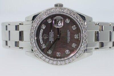Rolex 39mm Platinum Pearlmaster Masterpiece Dark MOP Factory Diamond 18946