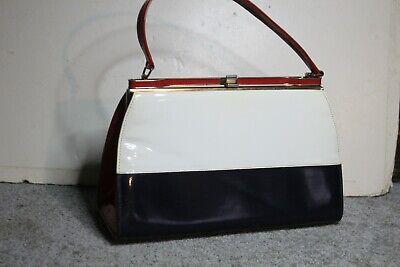 1950s Handbags, Purses, and Evening Bag Styles Vintage 1950s RED,WHITE, BLUE LEATHER Handbag Purse w/Gold Frame.. SPECTATOR BAG $14.50 AT vintagedancer.com