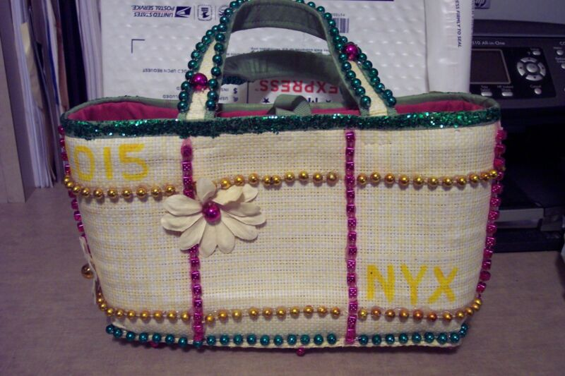 Krewe of NYX hand decorated bead & glitter purse - Mardi Gras New Orleans