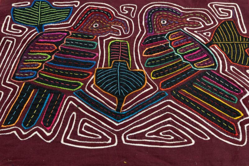 Kuna Indian Hand Sewn Henpecked Mola Panama