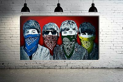 Banksy Beatles - Rare Red Version Street art Canvas 36 x 20 Giclee Print