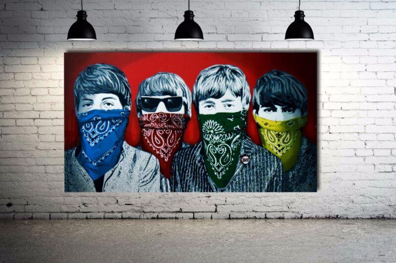 Banksy Beatles - Rare Red Version Street Art Canvas 36 X 20 Giclee Print