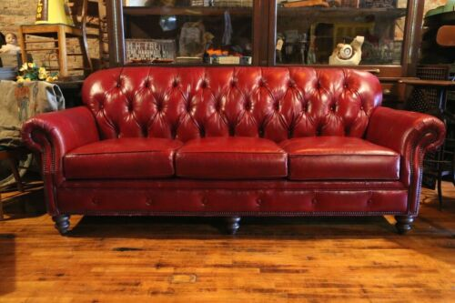 Vintage Tufted Leather Chesterfield Sofa Red Couch by Smith Brothers Furniture