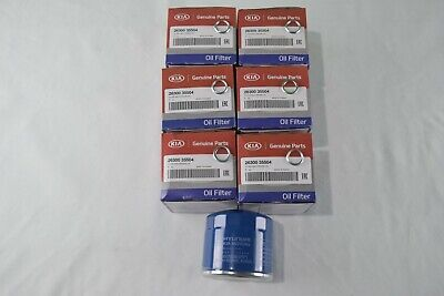 6PC GENUINE KIA / HYUNDAI ENGINE OIL FILTERS W/ DRAIN WASHERS 2630035504 OEM