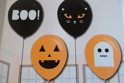 Halloween Balloons 4 x Designs Cat,Ghost,Pumpkin, Boo. Orange & Black 30cm - Halloween Pumpkin Designs Boo