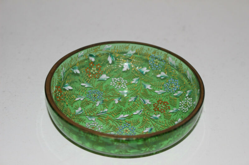 ANTIQUE HAND PAINTED ENAMEL VICTORIAN GREEN GLASS BOWL-GOLD W/FLOWERS-MOSER