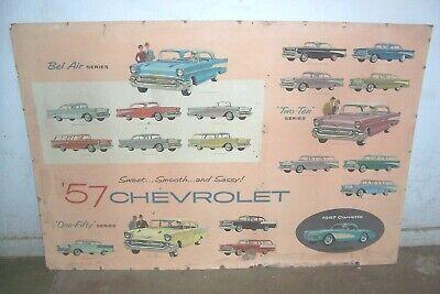 1957 57 CHEVROLET CHEVY BEL AIR CORVETTE 210 150 FACTORY DEALER WALL DISPLAY GM