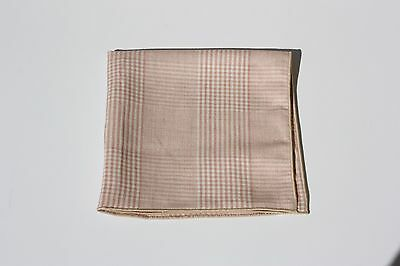 Pink and White Windowpane Pocket Square with Tan Trim