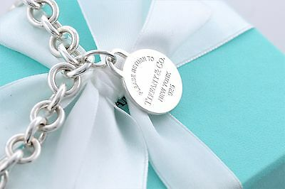 "Return To Tiffany & Co. Silver Round Tag Charm Pendant 16"" Necklace w/ Packaging"