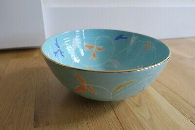 Jill Rosenwald Bel Blue Gold Rim Bowl Signed Rare Anthropologie