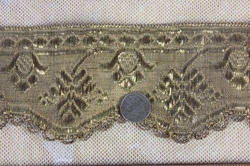 "Antique French 18thC Gold Metallic Trim c1780~18""L X 2""W~Passementarie"
