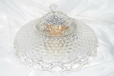 ANTIQUE VINTAGE CUT CRYSTAL GLASS DIAMOND CEILING LAMP SHADE -