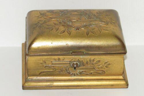 KRONHEIM & OLDENBUSCH Victorian K &O METAL Gilt Coffin CASKET JEWELRY BOX Lined