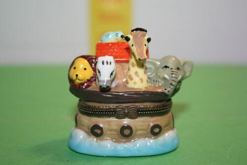 Vintage 90s Noahs Ark Trinket Box Ring Hinged with Noah trinket