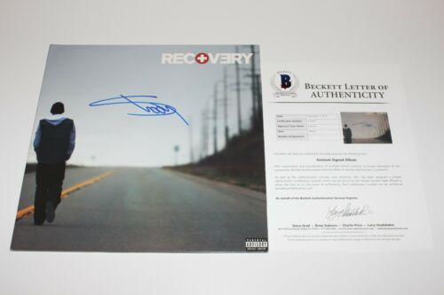 EMINEM SIGNED 'RECOVERY' VINYL RECORD LP BECKETT COA SLIM SHADY 8 MILE MM LP BAS