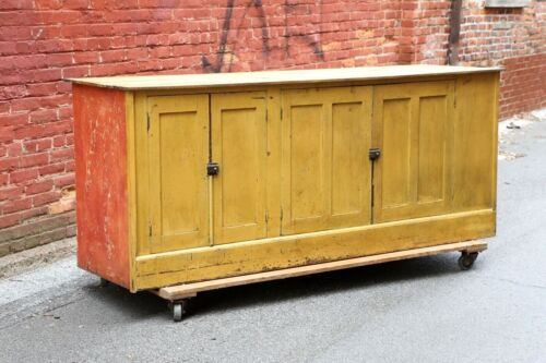 Antique Store Counter Old Yellow Paint Primitive Cupboard Cabinet Kitchen Island