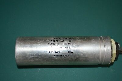 Sprague 100 Uf 300 Vdc Electrolytic Filter Nos Can Capacitor Tested