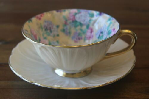 Shelley Summer Glory Chintz Oleander Teacup Tea Cup Saucer hydrangea lilac peach