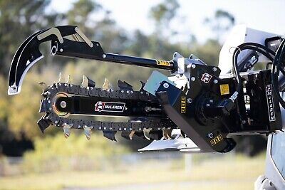 Skid Steer Trencher 2-3 12-21 Gpm With Adjustable Combination Dirt Chain