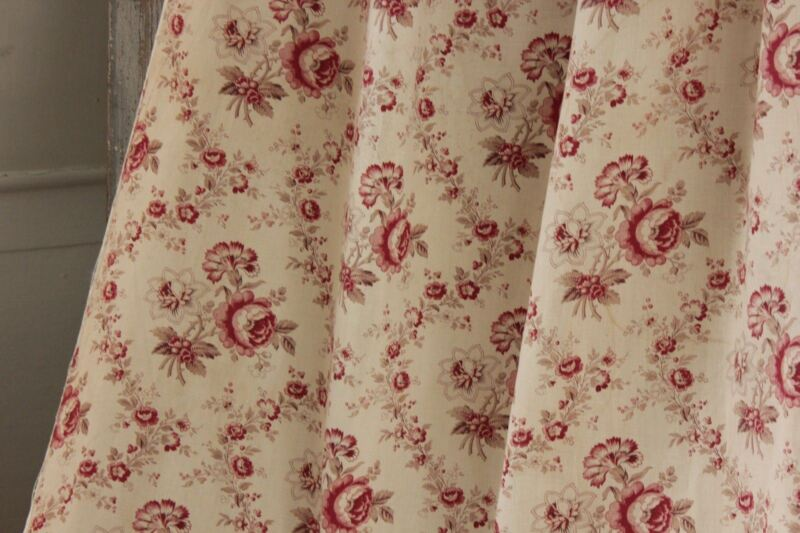 Antique French faded fabric floral aged reds beautiful cotton material or drape