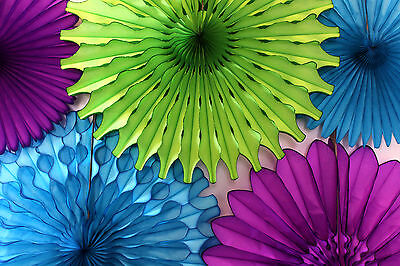 Purple And Turquoise Decorations (Peacock Lime, Turquoise, and Purple Tissue Paper Party Fan Collection (5)