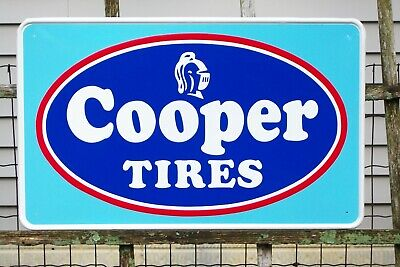 """Vintage Cooper Tires Sign / Beautiful Embossed Sign/ Nicest one on Ebay! 26""""x16"""""""
