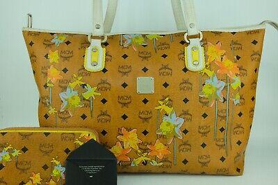 100% Authentic MCM Cognac Visetos Flower  Shopper Shoulder Bag + Zip Long Wallet