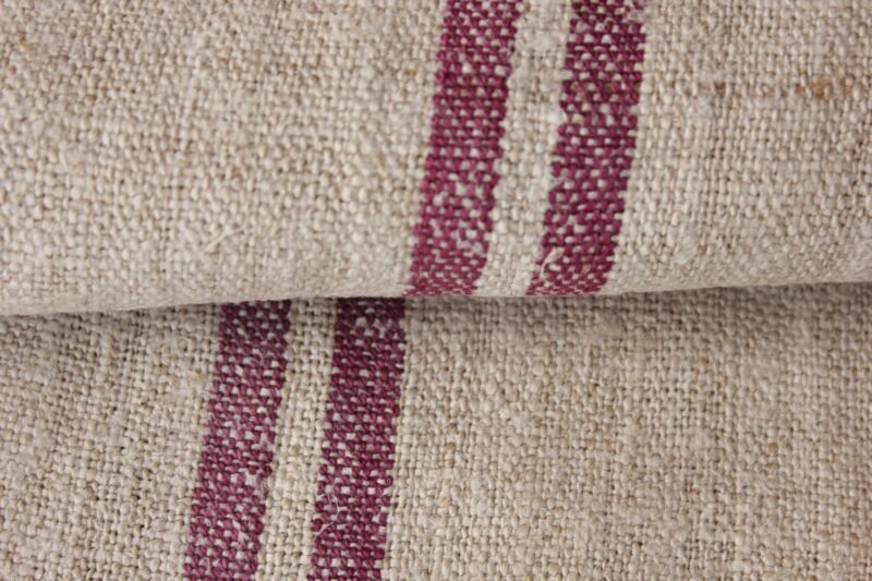 Grainsack fabric grain sack material hemp Upholstery HEAVY Linen hemp Magenta
