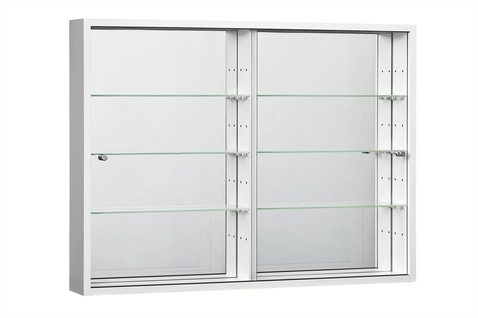 wide large wall mounted glass display cabinet double retail or domestic