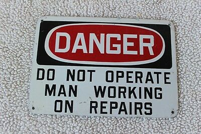Vintage Lineman Metal Danger Man Working On Line Dont Throw Switch Sign