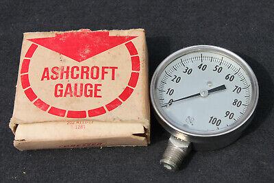 Vintage New In Box Ashcroft 100 Psi Pressure Gauge 2.5 Dial