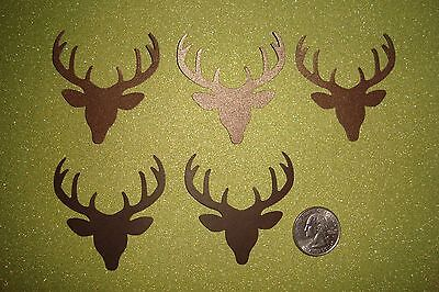 25 2 INCH BROWN SHIMMER DEER HEAD WITH ANTLERS TAGS DIE CUTS PUNCHES