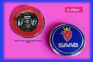 NEW-'SAAB' BLUE 68mm REAR 2 PIN COMPLETE EMBLEM BADGE, P/N 12844161 Aust Stock