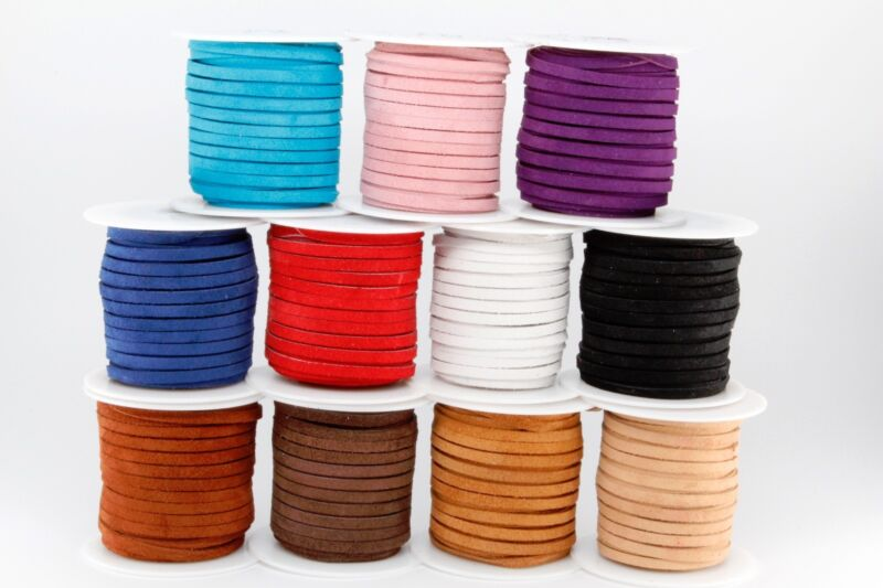"Leather Craft Suede Lace Jewelry Spool DIY Lot 1/8"" Inch x 25 Yards 75 Feet 3MM"