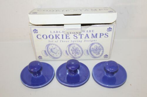 Williams Sonoma Large Stoneware Cookie Stamps Spring Design Flower Heart Bouquet