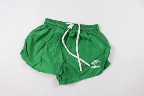Vtg 80s New Umbro International Youth Medium Spell Out Nylon Soccer Shorts Green