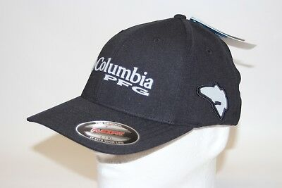 1f84118ec29b1 Columbia PFG Pique RedFish Flexfit Fitted Cap Hat UPF 50 in Black L XL 7 -  7 3 4