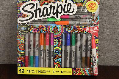 Sharpie 40 Markers Set- Assorted Colors- Fine Point Ultra Fine- Neon Metallic