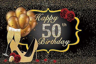 Champagne Happy 50th Birthday 7x5FT Vinyl Background Photography Backdrop Studio