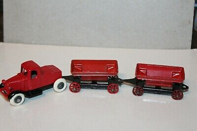 VERY NICE TOOTSIETOY MACK CONTRACTOR SET with TWO TIPPER CARTS Issued -