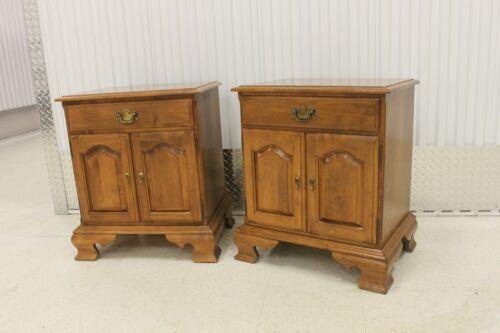Pair Ethan Allen Heirloom Nutmeg Maple Nightstand Cabinet # 10 - 5316