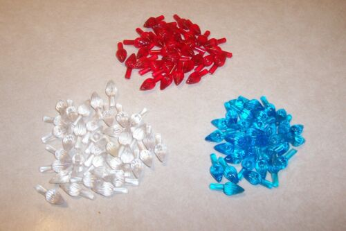 Vintage 100 Plastic Twisted Lights Ceramic Christmas Tree  Red/Clear/Blue #4