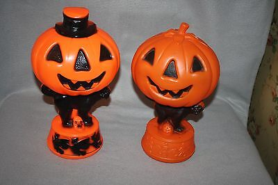 2 VINTAGE EMPIRE BLOW MOLD HALLOWEEN LAMPS PUMPKINS, BLACK CATS, WITCHES & SKELE